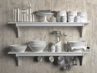 3D white tableware set shelves model