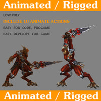 3D model redboss rigged animate