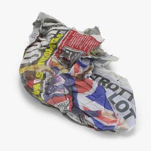 trash newspaper 3D model