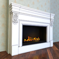 traditional fireplace 3D model