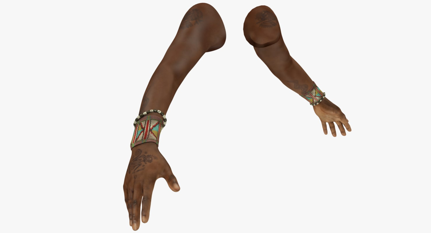 tattooed hands 3D model