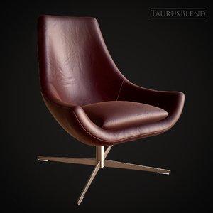 3D leather armchair chair