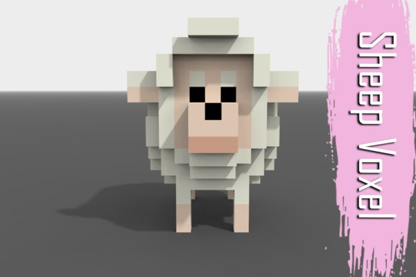 voxel sheep low-poly 3D