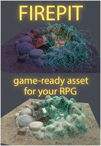 3D firepit realistic photogrammetry model