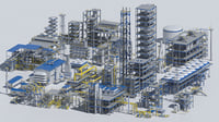 3D oil plant pipes model