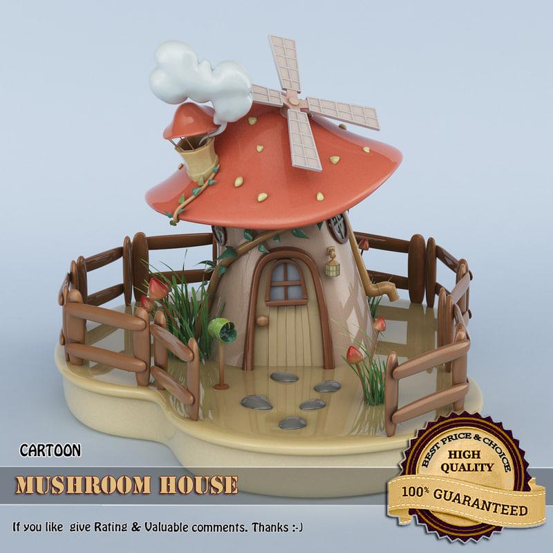 3D cartoon mushroom house