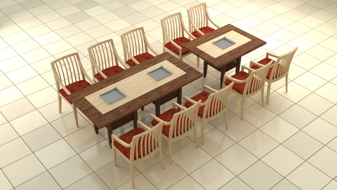 restaurant grill table chair 3D
