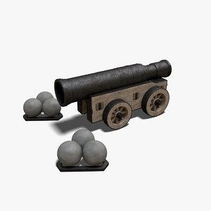 3D model mons meg artillery cannons
