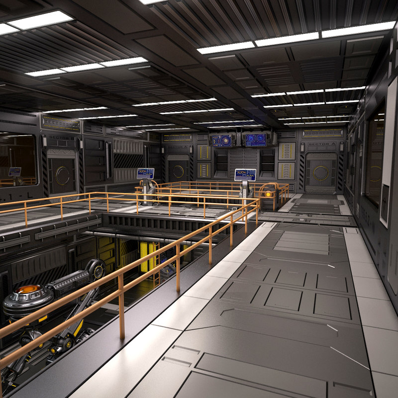 3D sci fi egnineering room model