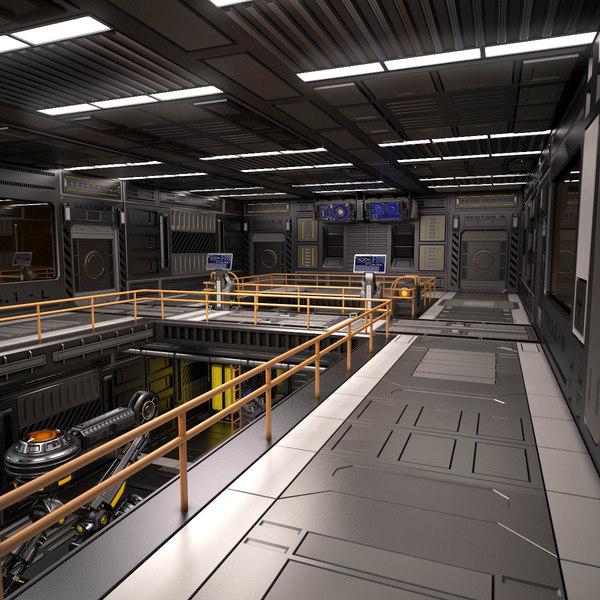 3D sci fi egnineering room model