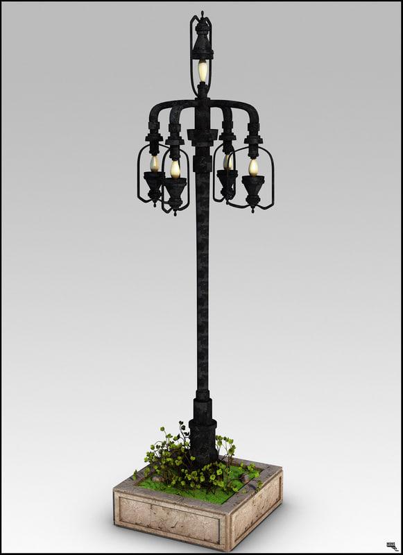 3D lamp street retro model