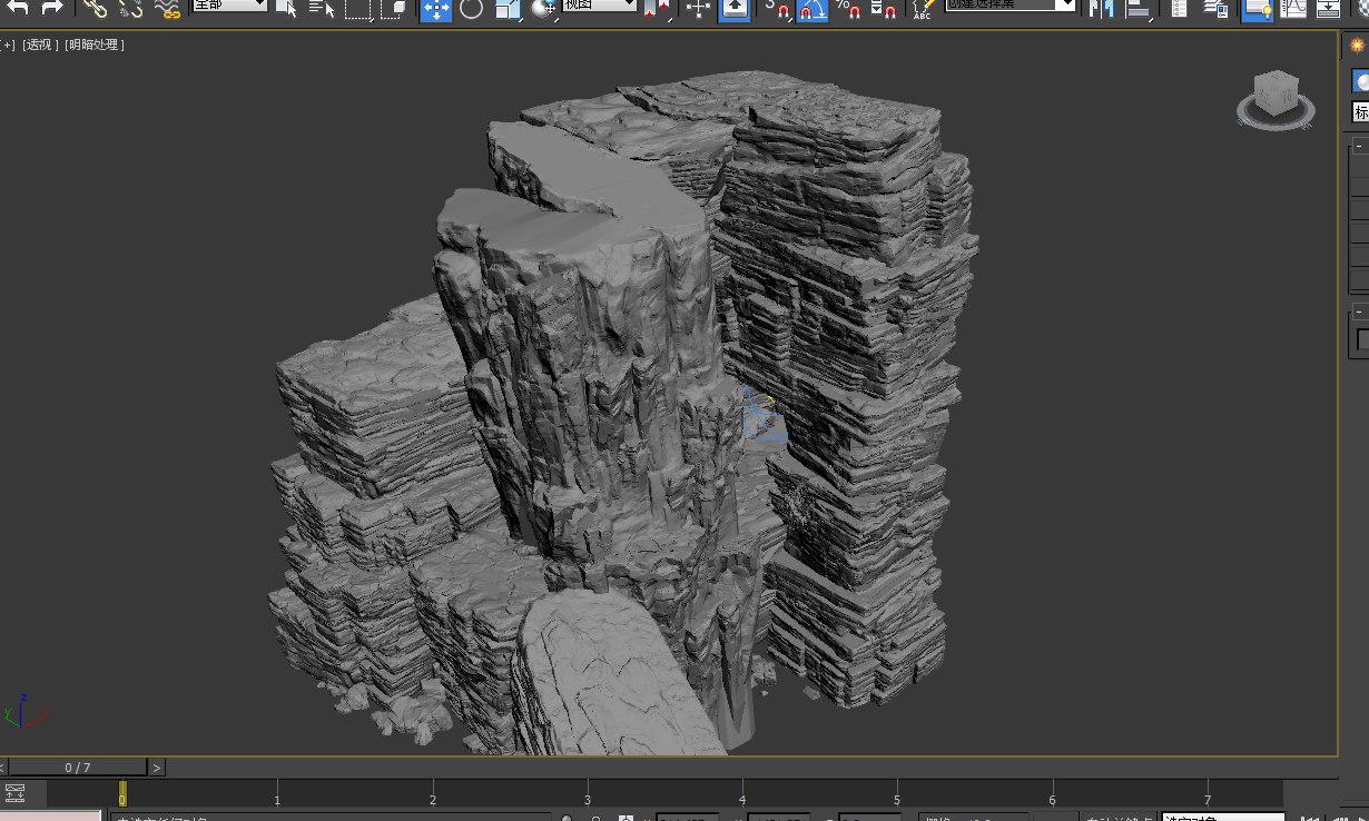 3D model cave rock mountain