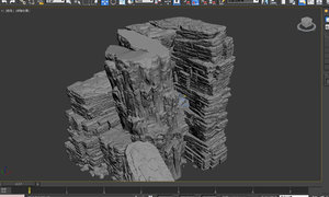 3D model cave rock mountain