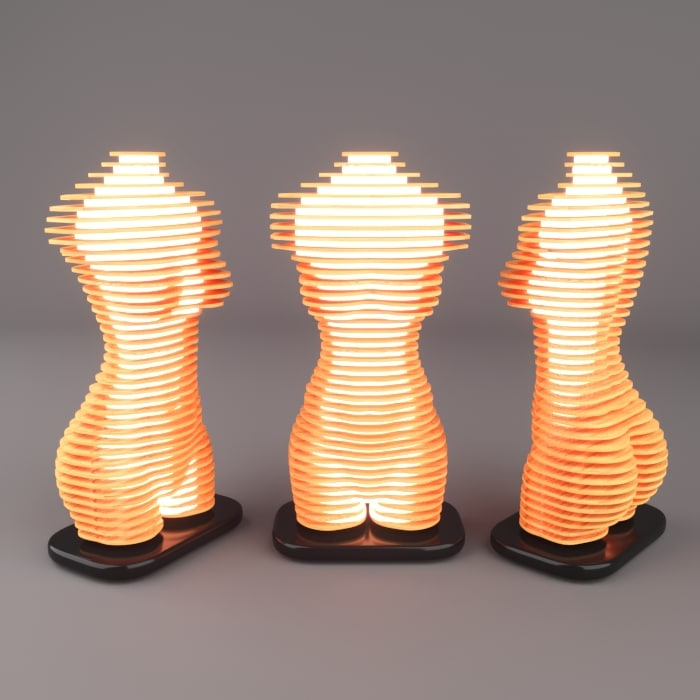 3D lamp torso female model
