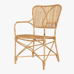 rattan dining armchair | 3D