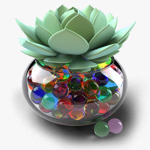 succulents vase hydrogel 3D model