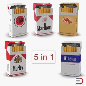 opened cigarettes packs 2 3D
