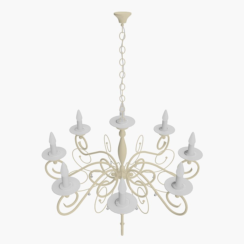 3D model chandelier candle form white