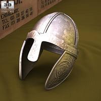 3D helmet viking embossed model