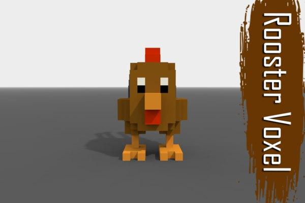 voxel rooster low-poly 3D model