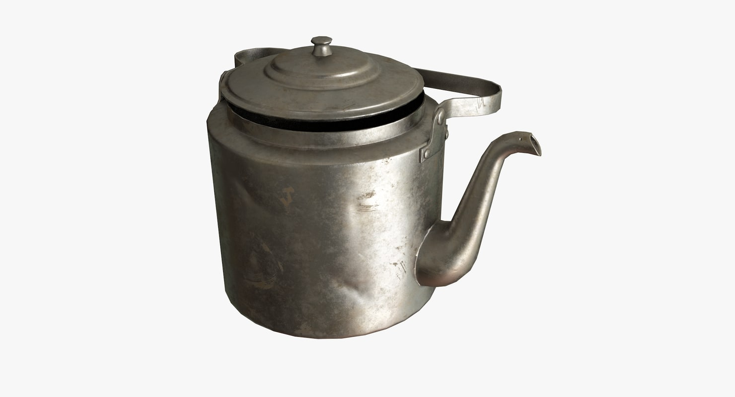 3D realistic old metal kettle model