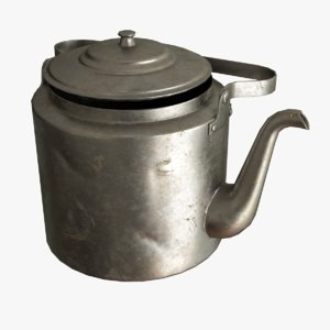 3D realistic old metal kettle model
