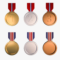 3D medal awards - gold silver