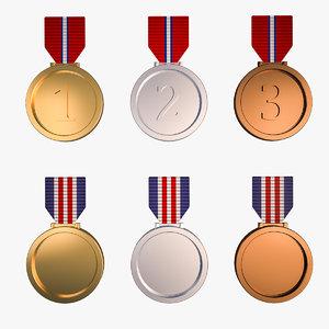 3D medal awards - gold silver