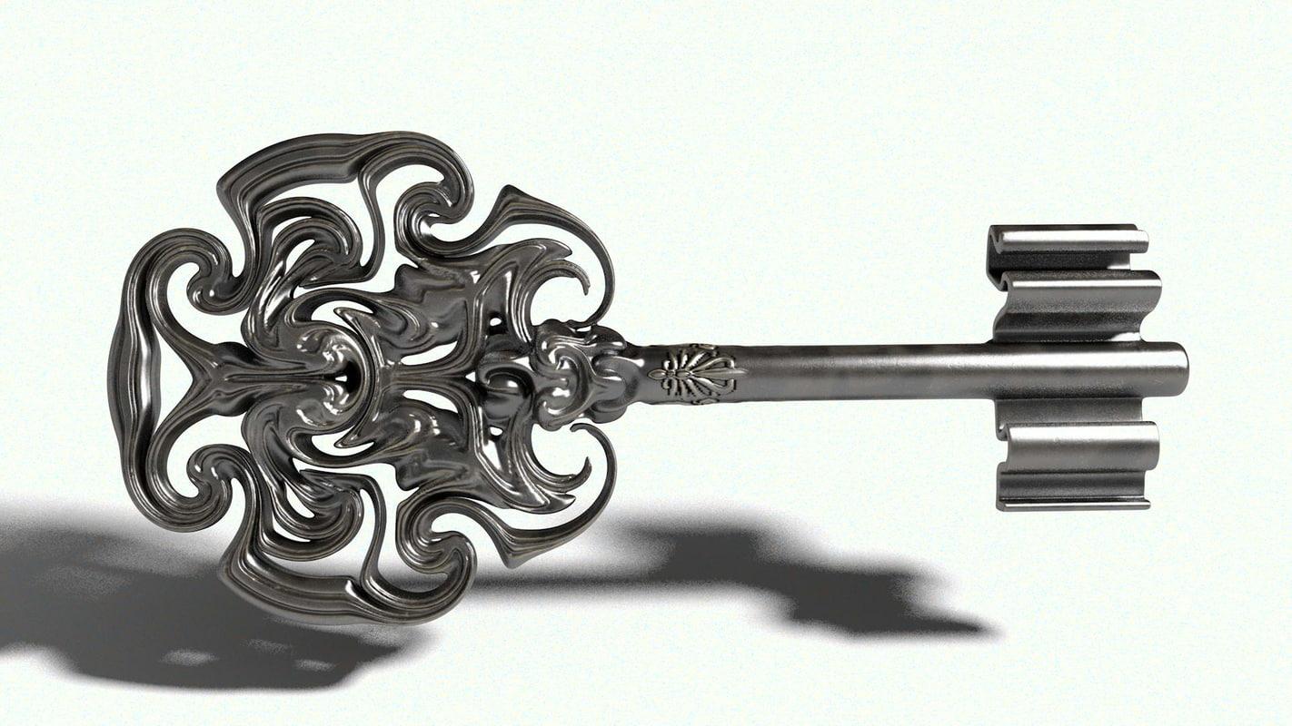 3D key metal vintage