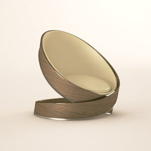 wood modern chair 3D model