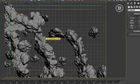 3D model stone mountain mount