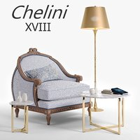chelini xviii armchair classic 3D model