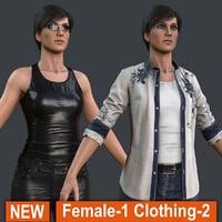 3D female 1 clothing 2 model