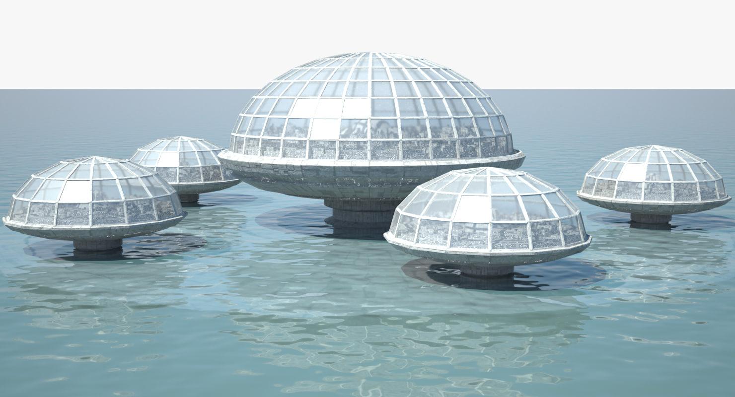 ocean dome city 3D model