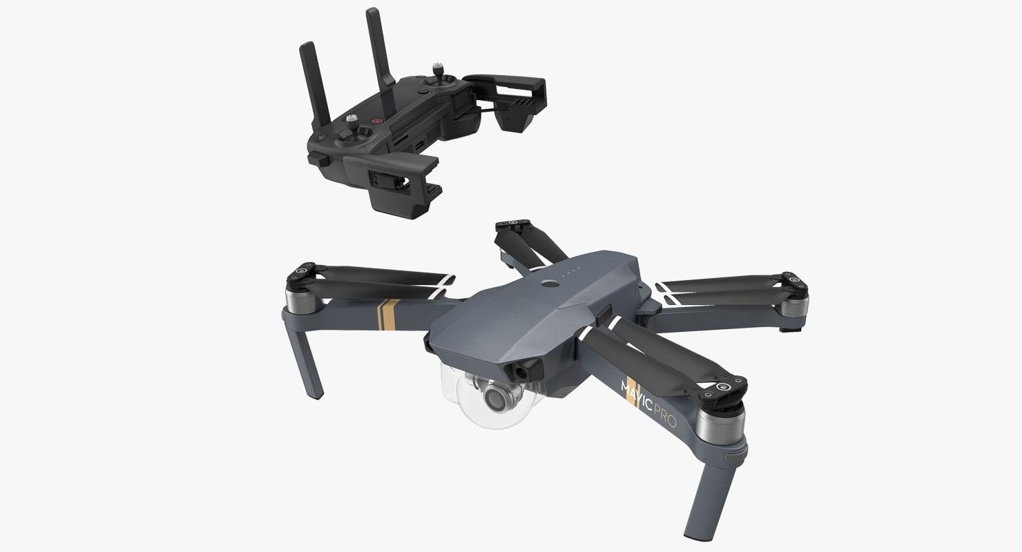 dji mavic pro quadcopter 3D model