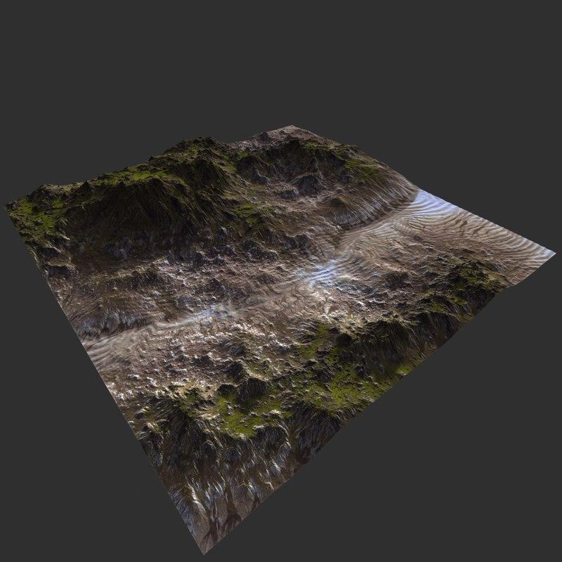 3D terrain ready scene model