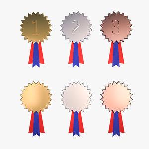 star medal awards gold silver 3D model