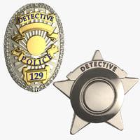 3D detective badges model