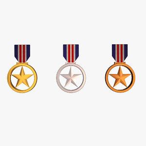 3D model star medal awards -