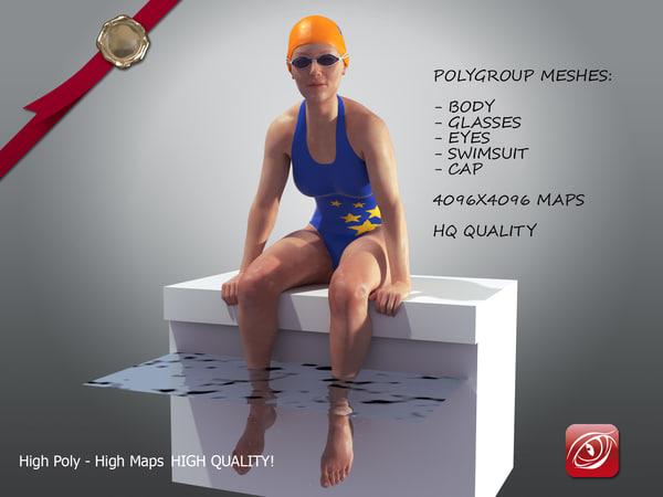 swimmingpoolgirlcasualc girl swimming 3D model