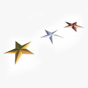 3D stars gold silver bronze