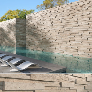 seamless travertine stack stone-wall model