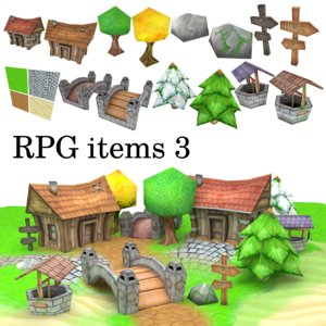 3D low-poly rpg items model
