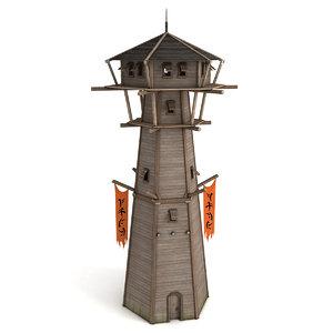 3D watchtower wooden guard