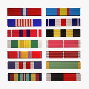 14 military ribbons - 3D model
