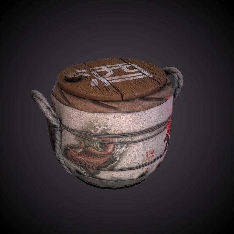 barrel sake 3D model