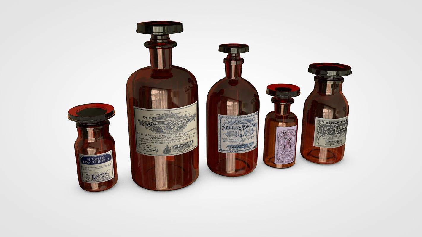 old amber bottles model