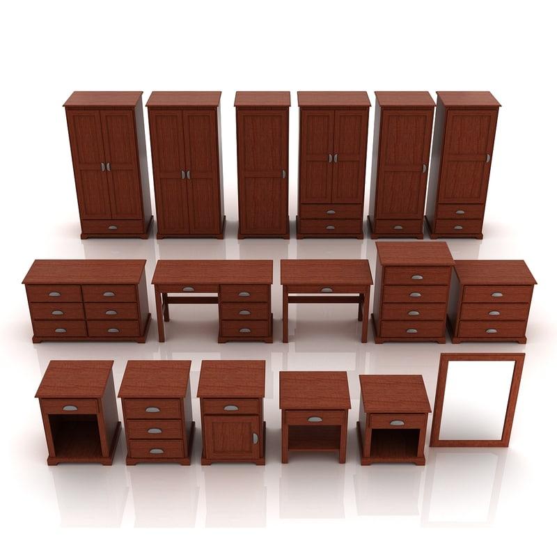3D model desk wood