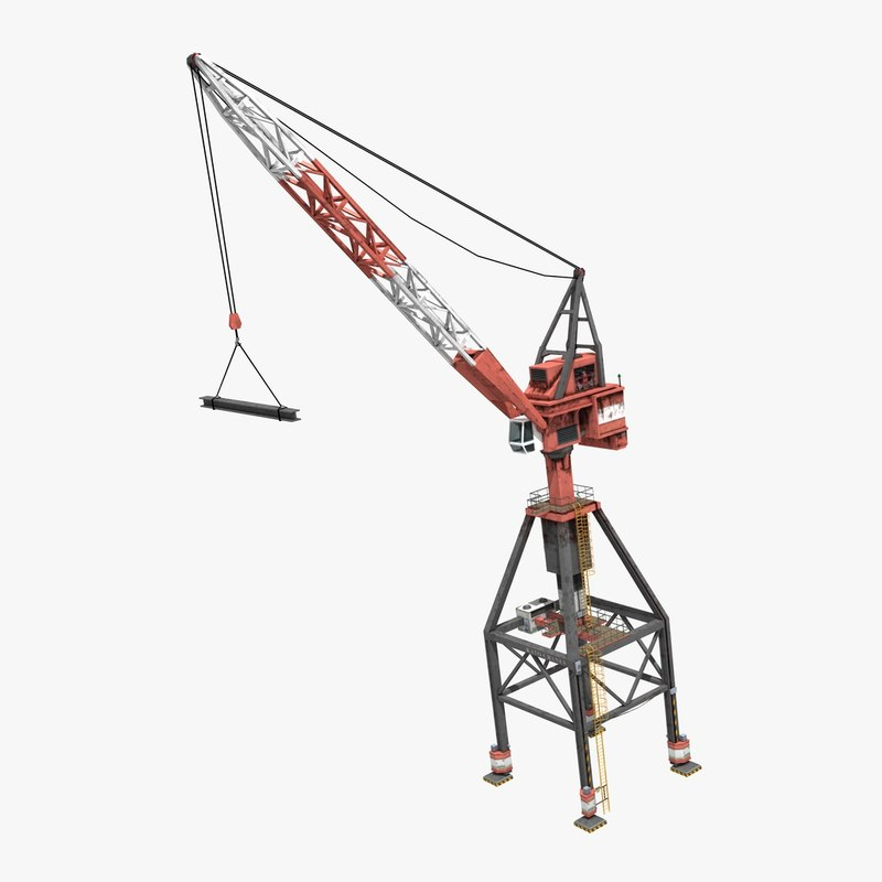 3D model port crane industrial