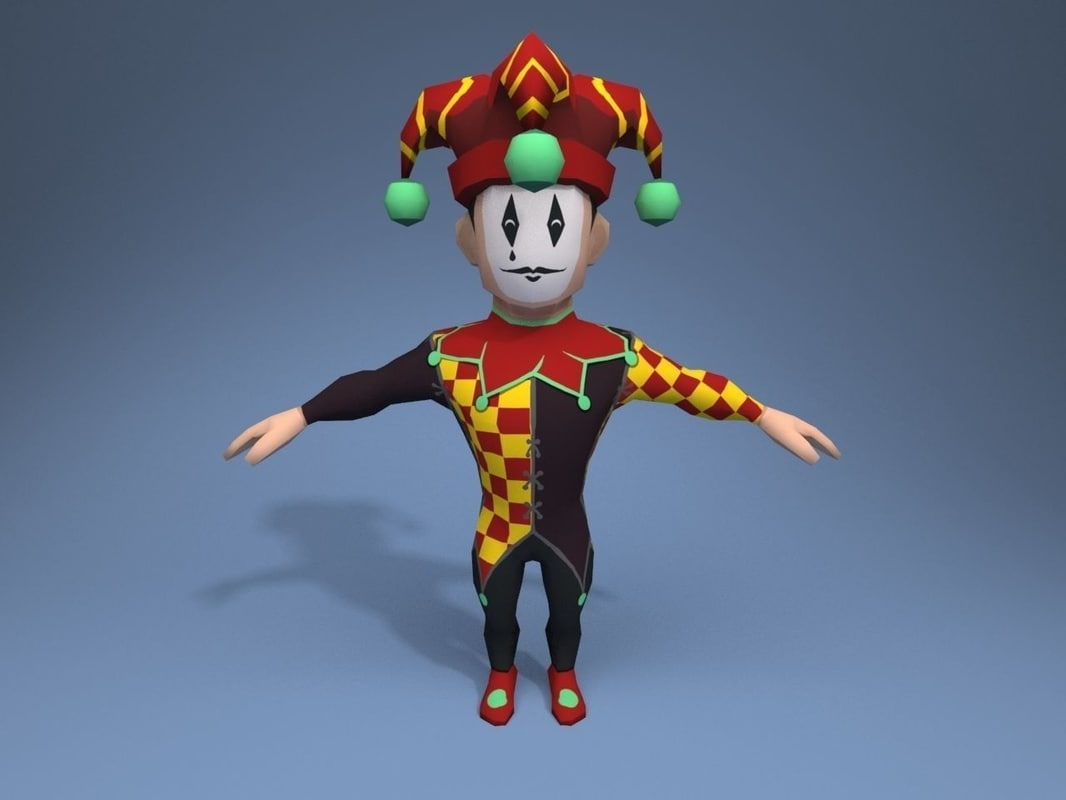 medieval character jester 06 3D model